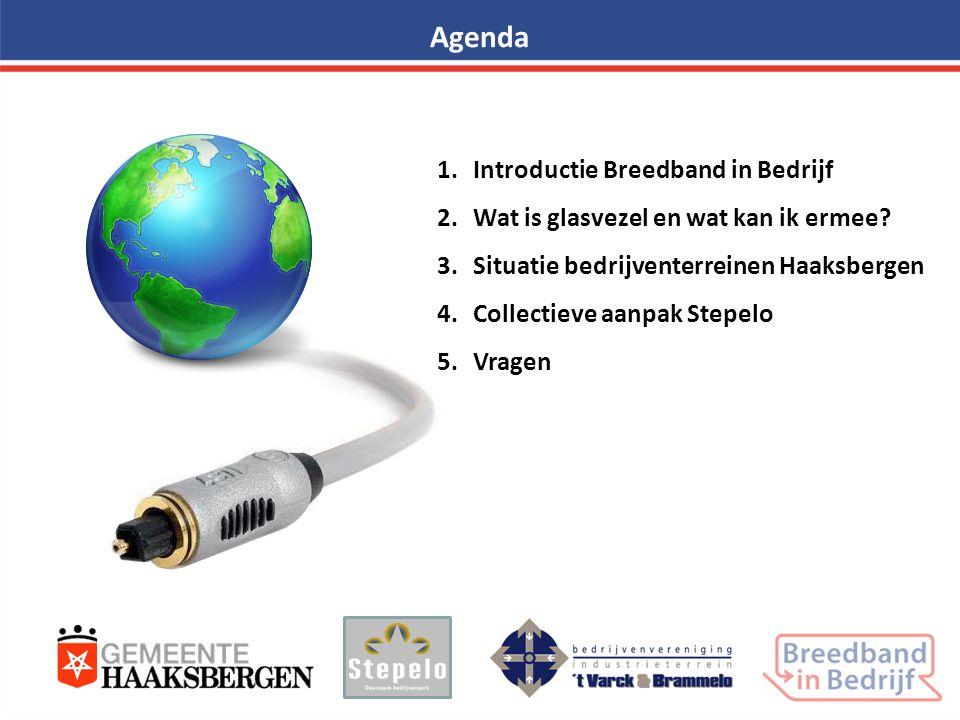 Agenda 1.Introductie Breedband in Bedrijf 2.Wat is glasvezel en wat kan ik ermee? 3.Situatie bedrijventerreinen Haaksbergen 4.Collectieve aanpak Stepe