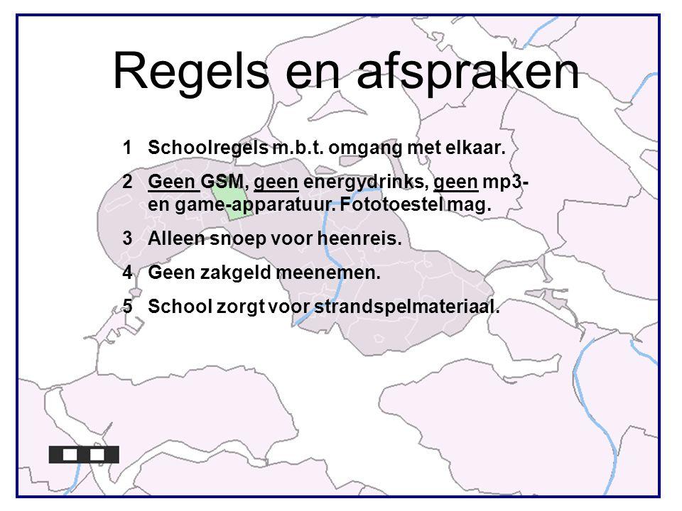 Regels en afspraken 1Schoolregels m.b.t. omgang met elkaar. 2Geen GSM, geen energydrinks, geen mp3- en game-apparatuur. Fototoestel mag. 3Alleen snoep