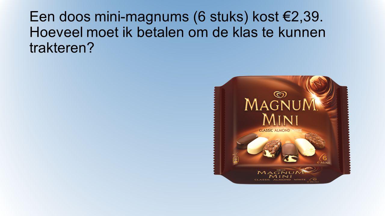 Een doos mini-magnums (6 stuks) kost €2,39. Hoeveel moet ik betalen om de klas te kunnen trakteren?