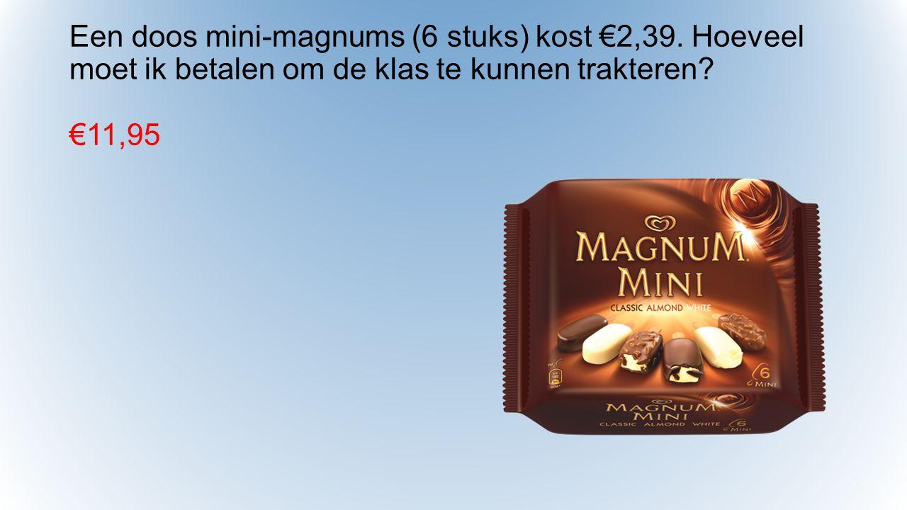 Een doos mini-magnums (6 stuks) kost €2,39.Hoeveel moet ik betalen om de klas te kunnen trakteren.