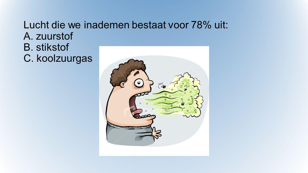 Lucht die we inademen bestaat voor 78% uit: A. zuurstof B. stikstof C. koolzuurgas