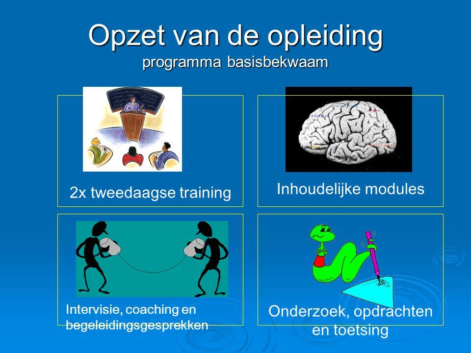 Opzet van de opleiding programma basisbekwaam 2x tweedaagse training Inhoudelijke modules Onderzoek, opdrachten en toetsing Intervisie, coaching en be