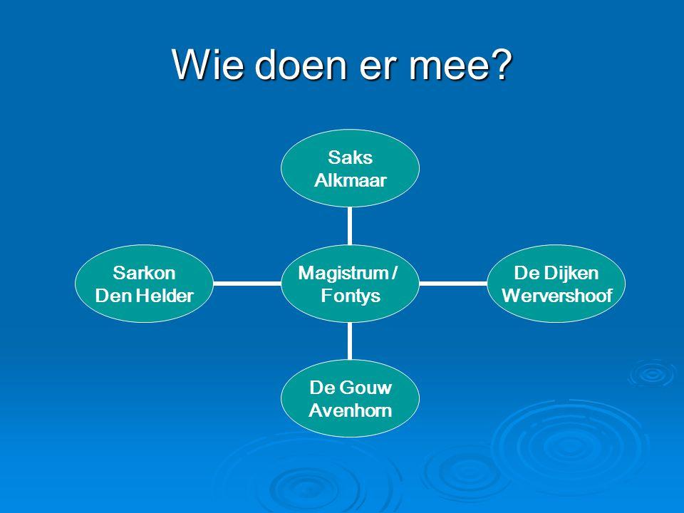 Wie doen er mee? Magistrum / Fontys Saks Alkmaar De Dijken Wervershoof De Gouw Avenhorn Sarkon Den Helder