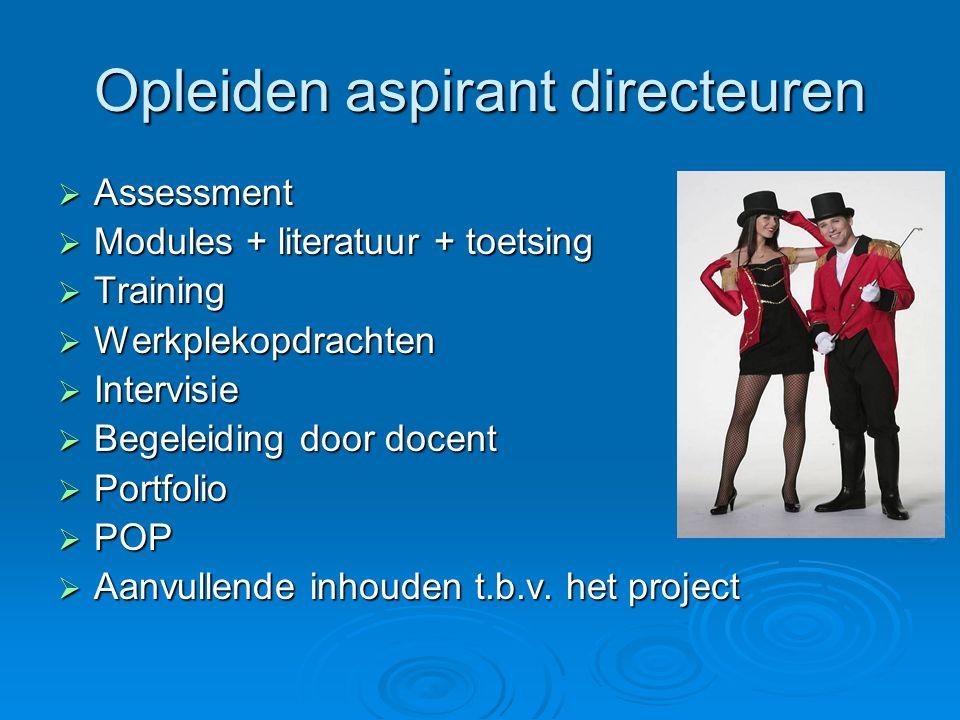 Opleiden aspirant directeuren  Assessment  Modules + literatuur + toetsing  Training  Werkplekopdrachten  Intervisie  Begeleiding door docent 