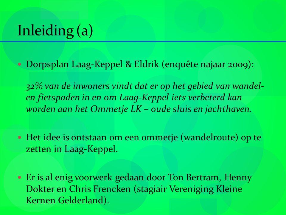 Inleiding (a) Dorpsplan Laag-Keppel & Eldrik (enquête najaar 2009): 32% van de inwoners vindt dat er op het gebied van wandel- en fietspaden in en om Laag-Keppel iets verbeterd kan worden aan het Ommetje LK – oude sluis en jachthaven.