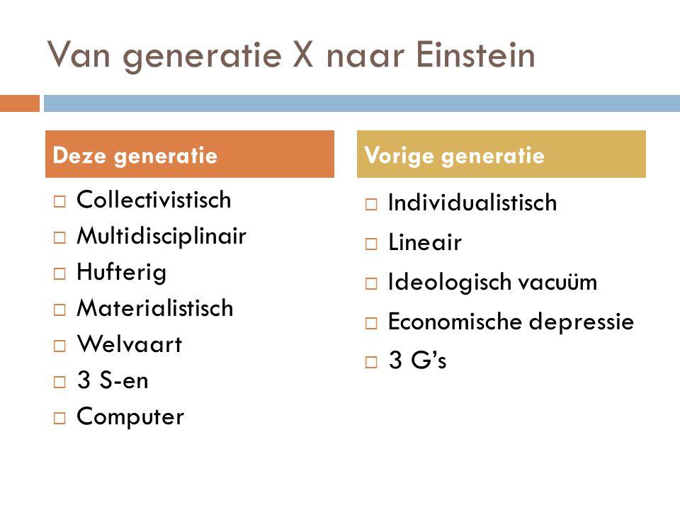 Van generatie X naar Einstein  Collectivistisch  Multidisciplinair  Hufterig  Materialistisch  Welvaart  3 S-en  Computer  Individualistisch 