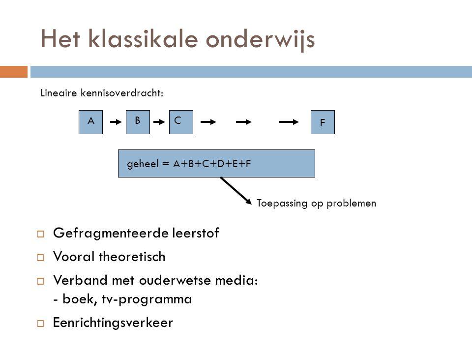 Het klassikale onderwijs  Gefragmenteerde leerstof  Vooral theoretisch  Verband met ouderwetse media: - boek, tv-programma  Eenrichtingsverkeer Li