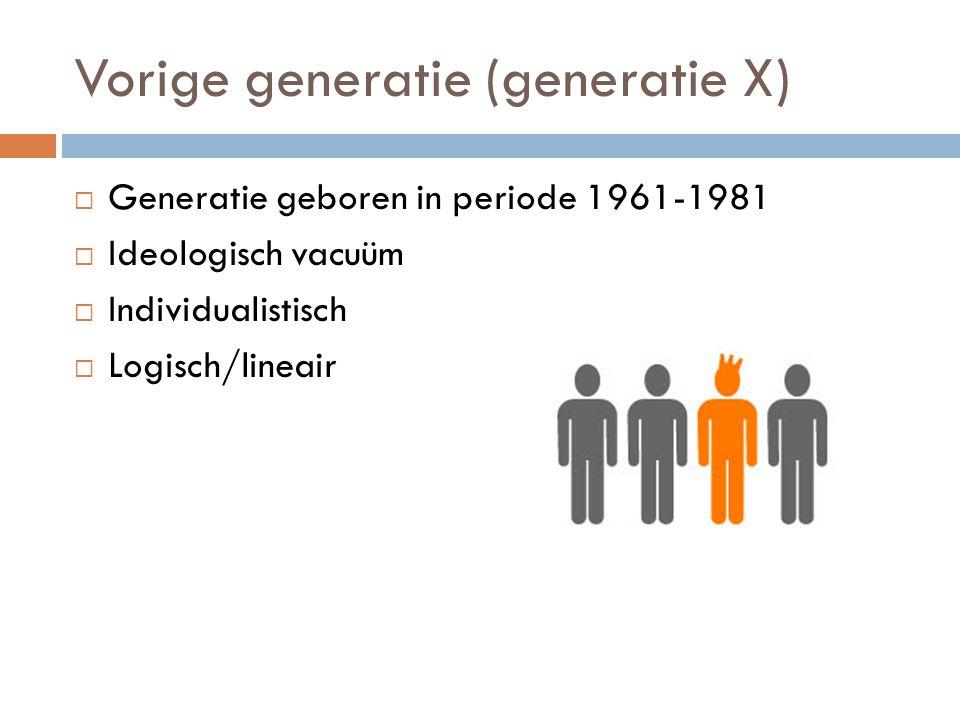 Vorige generatie (generatie X)  Generatie geboren in periode 1961-1981  Ideologisch vacuüm  Individualistisch  Logisch/lineair