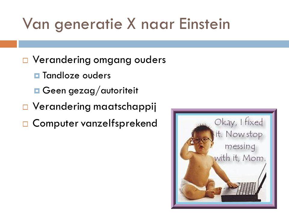 Van generatie X naar Einstein  Collectivistisch  Multidisciplinair  Hufterig  Materialistisch  Welvaart  3 S-en  Computer  Individualistisch  Lineair  Ideologisch vacuüm  Economische depressie  3 G's Deze generatieVorige generatie