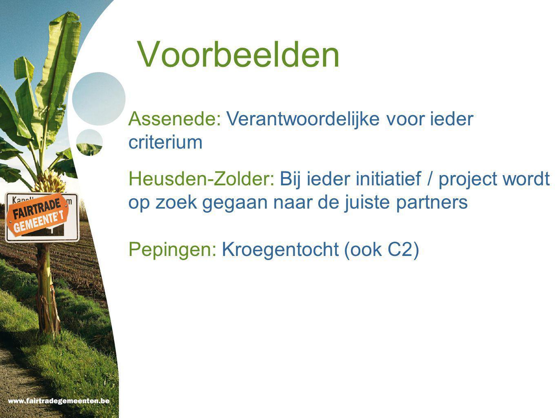 Voorbeelden Assenede: Verantwoordelijke voor ieder criterium Heusden-Zolder: Bij ieder initiatief / project wordt op zoek gegaan naar de juiste partners Pepingen: Kroegentocht (ook C2)
