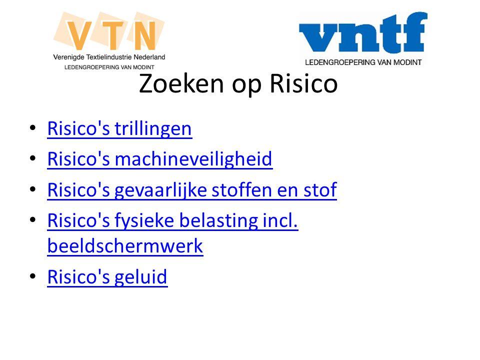 Zoeken op Risico Risico s trillingen Risico s machineveiligheid Risico s gevaarlijke stoffen en stof Risico s fysieke belasting incl.