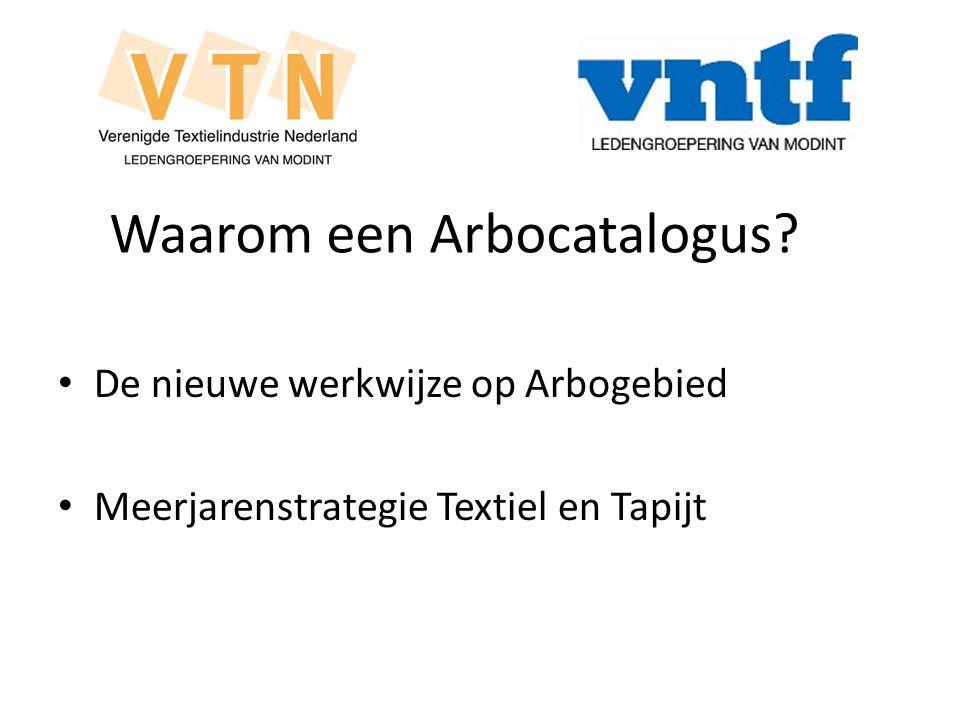 Waarom een Arbocatalogus? De nieuwe werkwijze op Arbogebied Meerjarenstrategie Textiel en Tapijt
