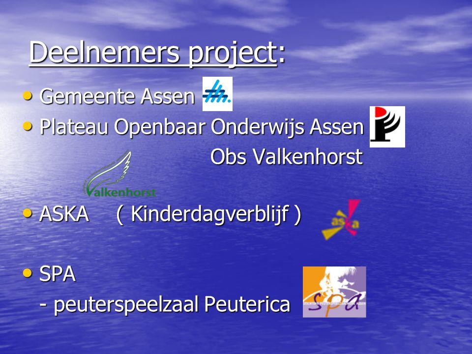 Deelnemers project: Gemeente Assen Gemeente Assen Plateau Openbaar Onderwijs Assen Plateau Openbaar Onderwijs Assen Obs Valkenhorst ASKA ( Kinderdagve
