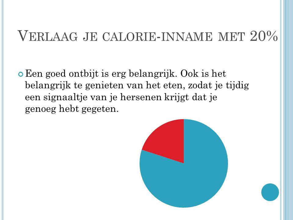 V ERLAAG JE CALORIE - INNAME MET 20% Een goed ontbijt is erg belangrijk.