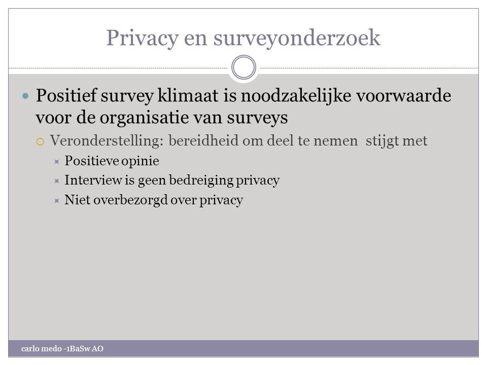 Privacy en surveyonderzoek carlo medo -1BaSw AO Effect van gevoeligheid voor privacy aangelegenheden op de medewerking aan surveys .