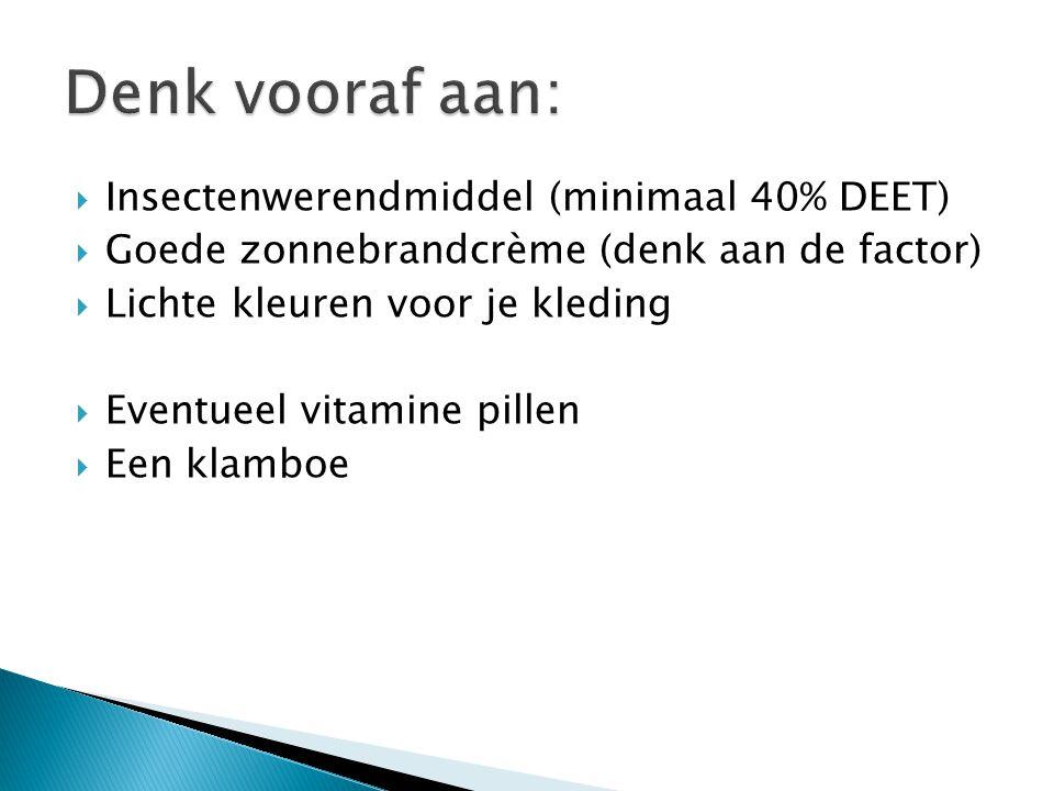  Insectenwerendmiddel (minimaal 40% DEET)  Goede zonnebrandcrème (denk aan de factor)  Lichte kleuren voor je kleding  Eventueel vitamine pillen  Een klamboe