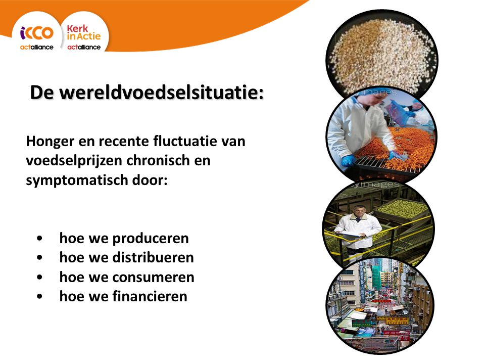 De wereldvoedselsituatie: Honger en recente fluctuatie van voedselprijzen chronisch en symptomatisch door: hoe we produceren hoe we distribueren hoe we consumeren hoe we financieren