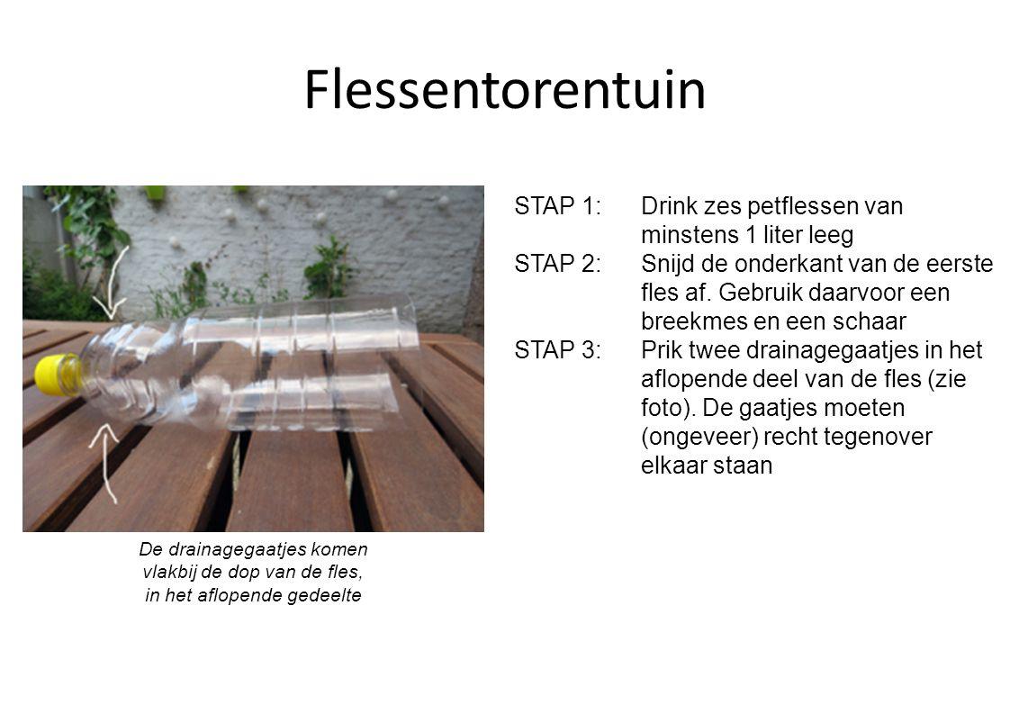Flessentorentuin STAP 4: Vul de fles met potgrond en compost.