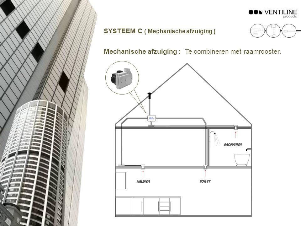 SYSTEEM C ( Mechanische afzuiging ) Mechanische afzuiging : Te combineren met raamrooster.