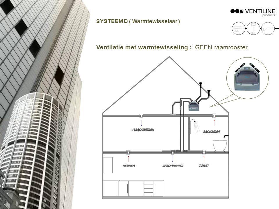 SYSTEEM D ( Warmtewisselaar ) Ventilatie met warmtewisseling : GEEN raamrooster.