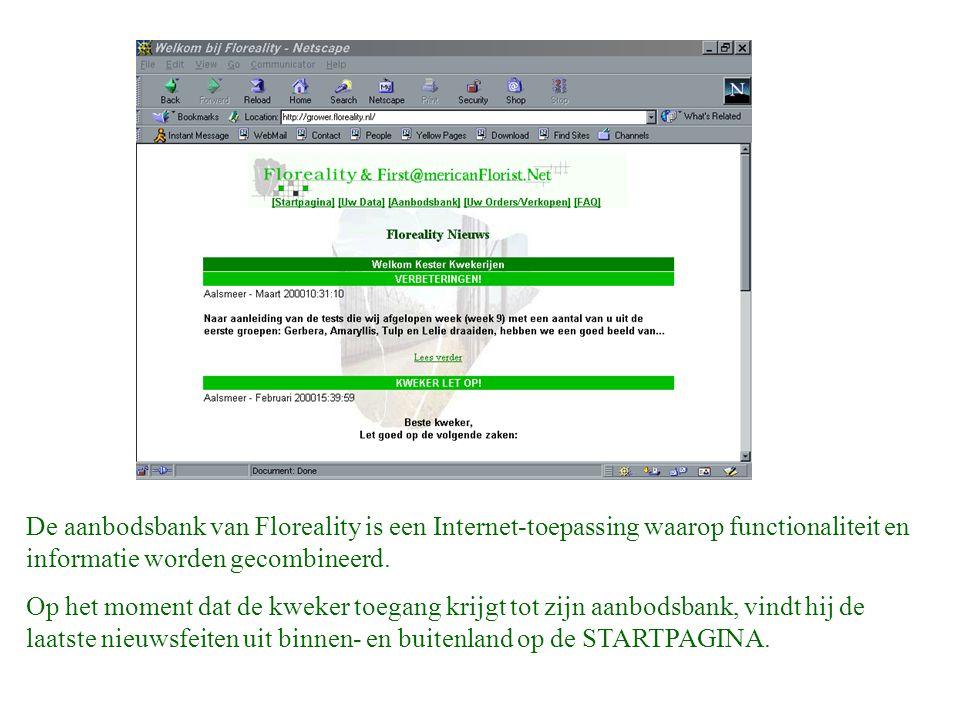De aanbodsbank van Floreality is een Internet-toepassing waarop functionaliteit en informatie worden gecombineerd.