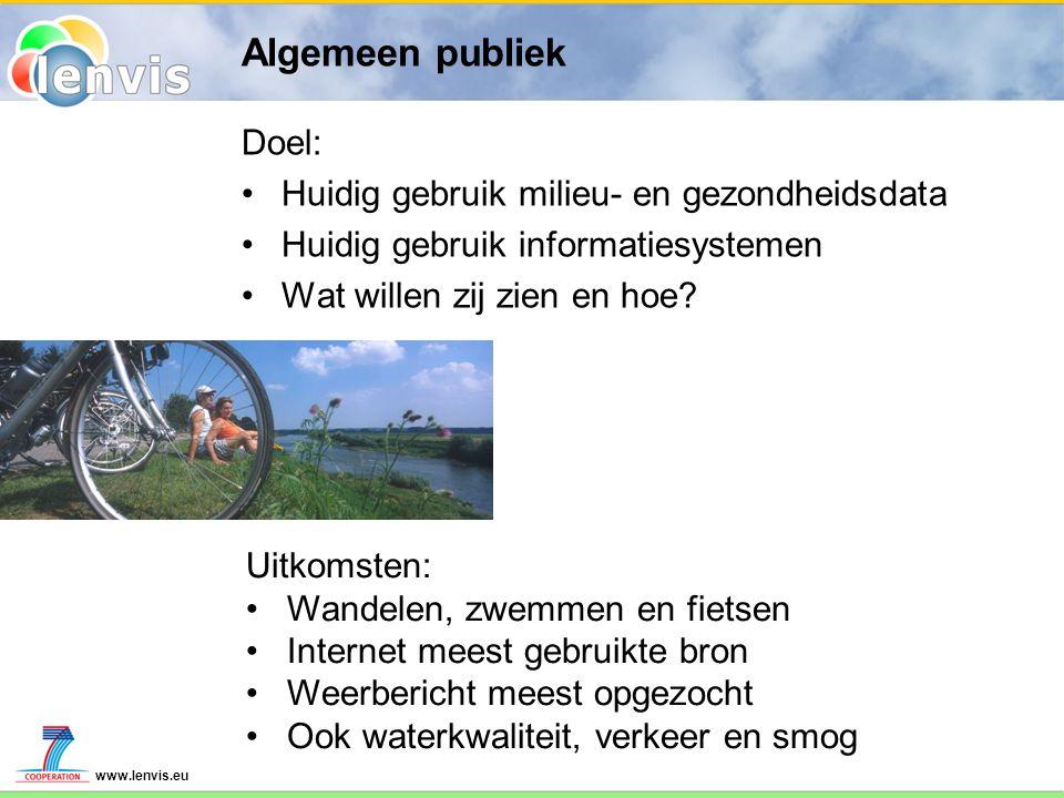 www.lenvis.eu Algemeen publiek Doel: Huidig gebruik milieu- en gezondheidsdata Huidig gebruik informatiesystemen Wat willen zij zien en hoe.