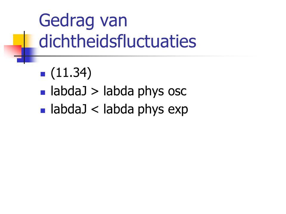 Gedrag van dichtheidsfluctuaties (11.34) labdaJ > labda phys osc labdaJ < labda phys exp