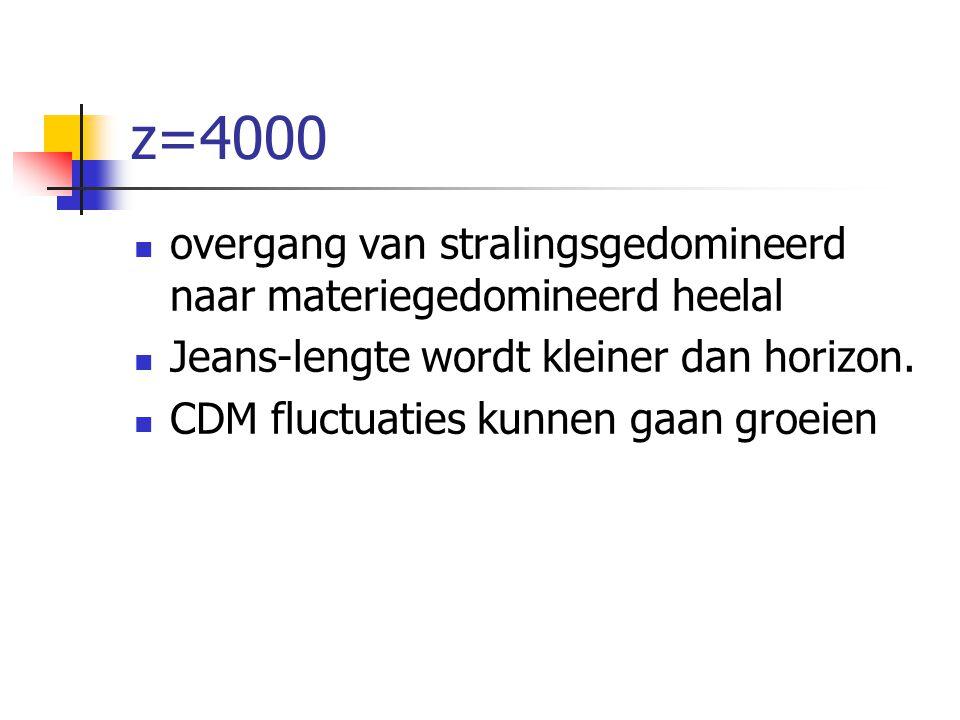 z=4000 overgang van stralingsgedomineerd naar materiegedomineerd heelal Jeans-lengte wordt kleiner dan horizon. CDM fluctuaties kunnen gaan groeien