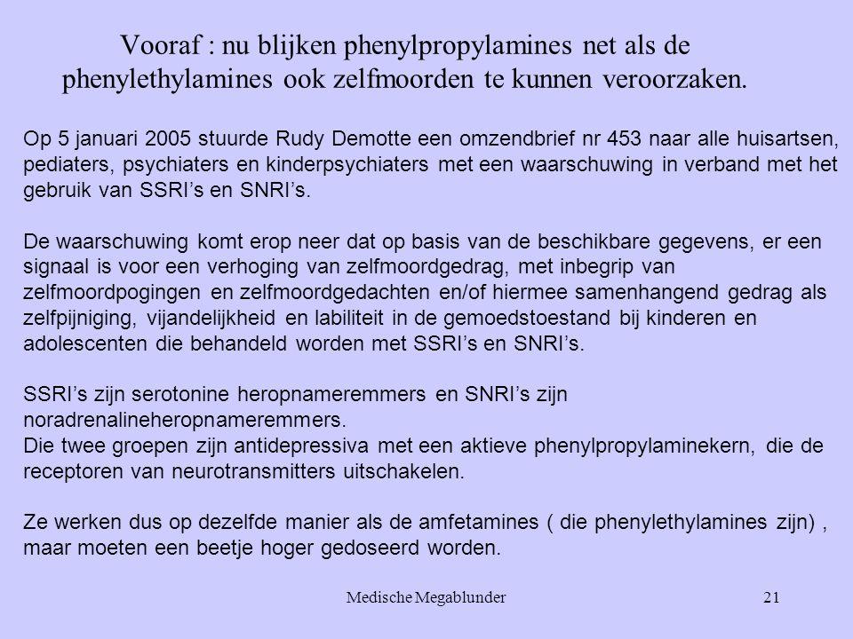 Medische Megablunder21 Vooraf : nu blijken phenylpropylamines net als de phenylethylamines ook zelfmoorden te kunnen veroorzaken. Op 5 januari 2005 st