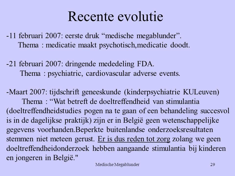 """Medische Megablunder29 Recente evolutie -11 februari 2007: eerste druk """"medische megablunder"""". Thema : medicatie maakt psychotisch,medicatie doodt. -2"""