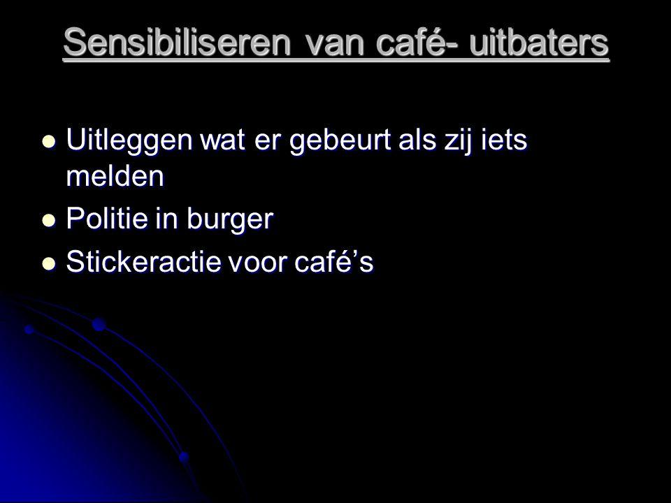 Sensibiliseren van café- uitbaters Uitleggen wat er gebeurt als zij iets melden Uitleggen wat er gebeurt als zij iets melden Politie in burger Politie in burger Stickeractie voor café's Stickeractie voor café's