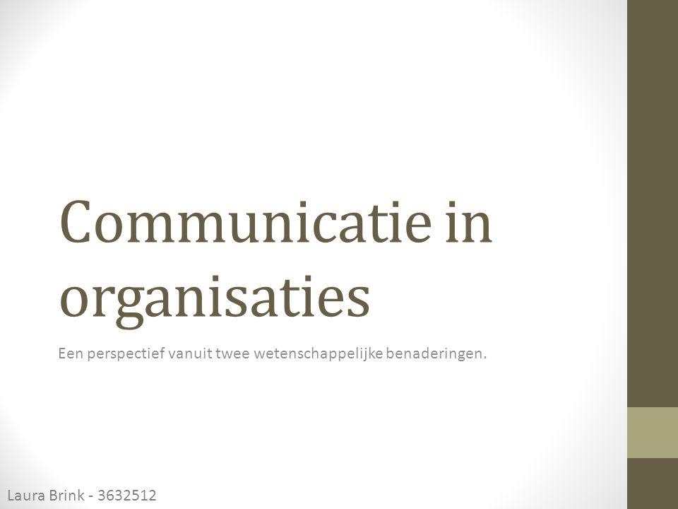 Klassieke benadering Kenmerken Communicatie vindt verticaal plaats Communicatie gaat 'benedenwaarts' binnen een organisatie in de vorm van orders, regels en richtlijnen Communicatie is beperkt tot taak gerelateerde zaken Communicatie is vaak zeer formeel, zowel verbaal als non- verbaal