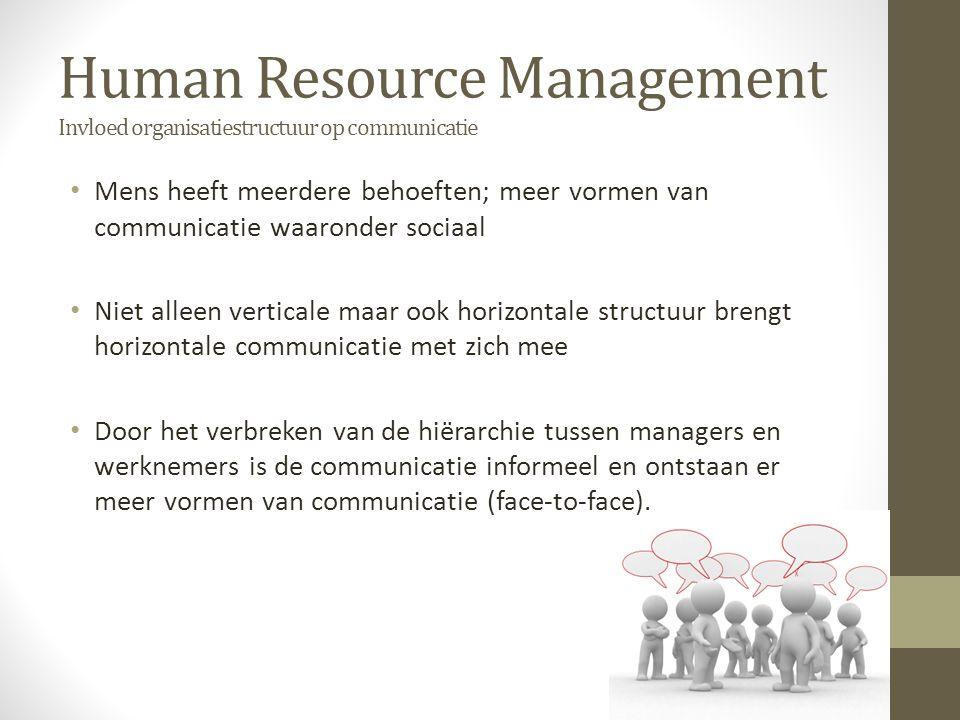 Human Resource Management Invloed organisatiestructuur op communicatie Mens heeft meerdere behoeften; meer vormen van communicatie waaronder sociaal N