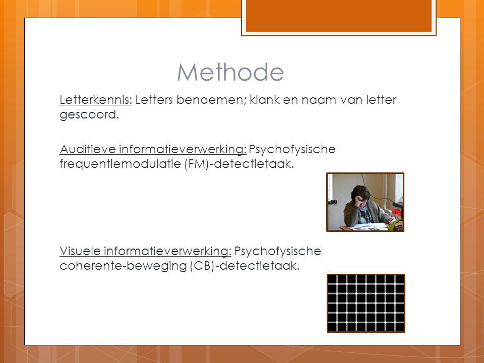 Methode Letterkennis: Letters benoemen; klank en naam van letter gescoord. Auditieve informatieverwerking: Psychofysische frequentiemodulatie (FM)-det