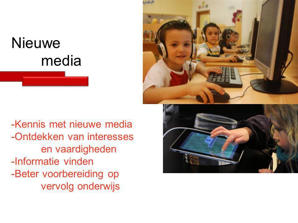 Nieuwe media -Kennis met nieuwe media -Ontdekken van interesses en vaardigheden -Informatie vinden -Beter voorbereiding op vervolg onderwijs