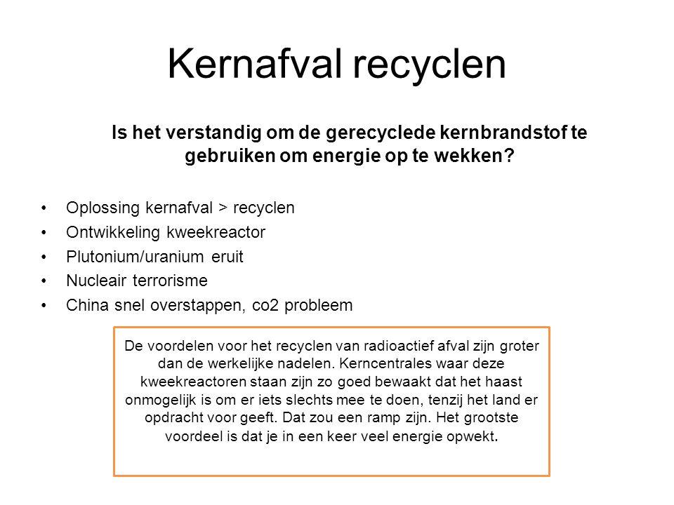 Kernafval recyclen Is het verstandig om de gerecyclede kernbrandstof te gebruiken om energie op te wekken? Oplossing kernafval > recyclen Ontwikkeling