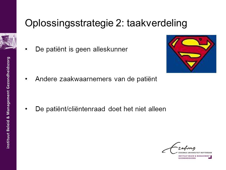 Oplossingsstrategie 2: taakverdeling De patiënt is geen alleskunner Andere zaakwaarnemers van de patiënt De patiënt/cliëntenraad doet het niet alleen