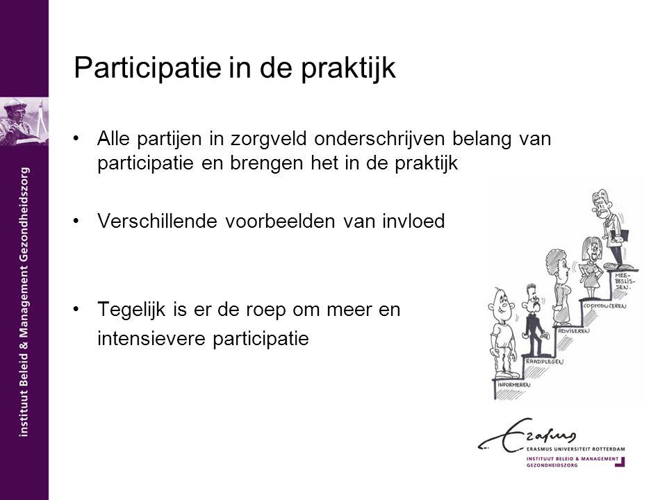 Participatie in de praktijk Alle partijen in zorgveld onderschrijven belang van participatie en brengen het in de praktijk Verschillende voorbeelden v