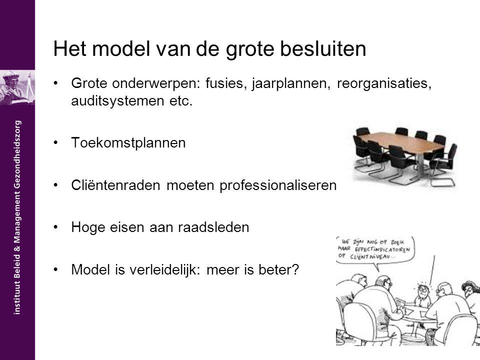 Het model van de grote besluiten Grote onderwerpen: fusies, jaarplannen, reorganisaties, auditsystemen etc. Toekomstplannen Cliëntenraden moeten profe