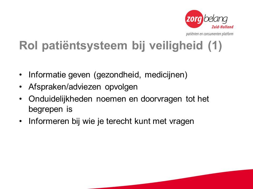 Rol patiëntsysteem bij veiligheid (1) Informatie geven (gezondheid, medicijnen) Afspraken/adviezen opvolgen Onduidelijkheden noemen en doorvragen tot het begrepen is Informeren bij wie je terecht kunt met vragen