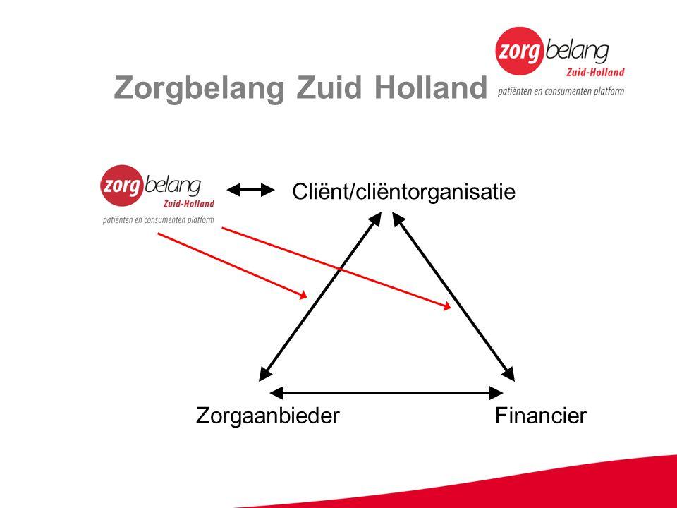 Zorgbelang Zuid Holland FinancierZorgaanbieder Cliënt/cliëntorganisatie