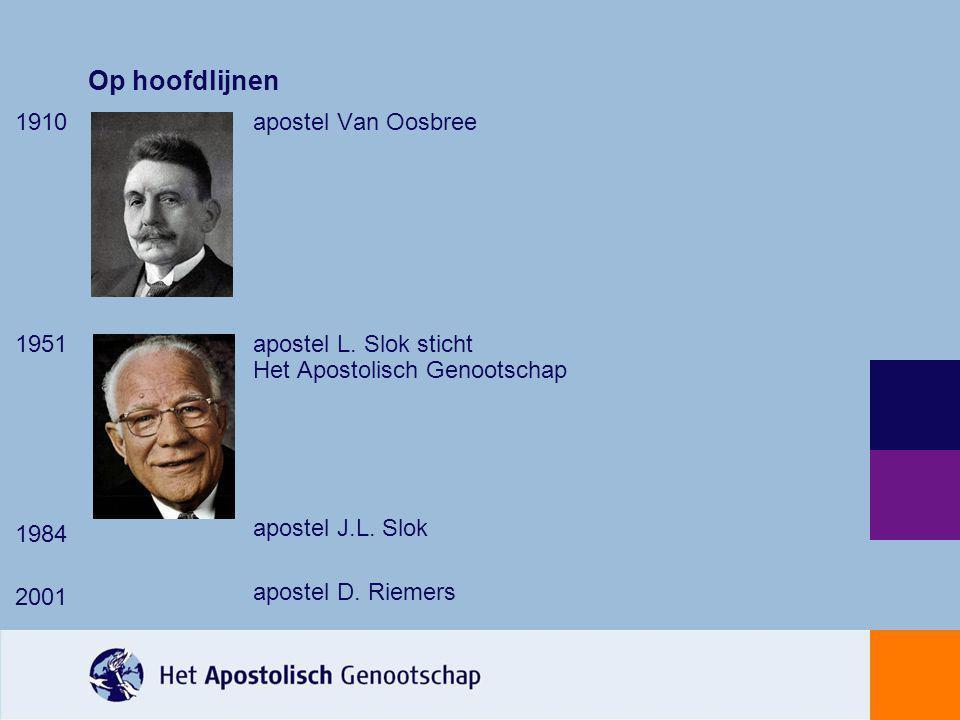 Op hoofdlijnen 1910 1951 1984 2001 apostel Van Oosbree apostel L. Slok sticht Het Apostolisch Genootschap apostel J.L. Slok apostel D. Riemers