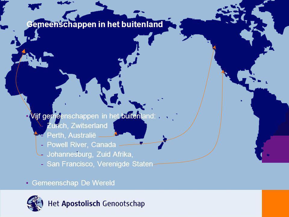 Vijf gemeenschappen in het buitenland: -Zurich, Zwitserland -Perth, Australië -Powell River, Canada -Johannesburg, Zuid Afrika, -San Francisco, Vereni