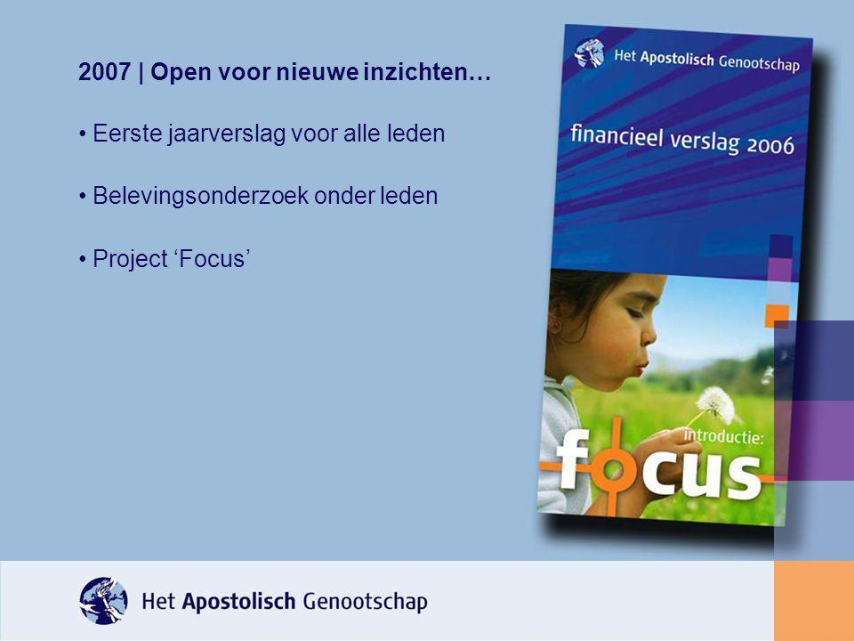 2007 | Open voor nieuwe inzichten… Eerste jaarverslag voor alle leden Belevingsonderzoek onder leden Project 'Focus'