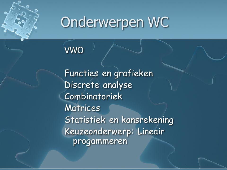Onderwerpen WC VWO Functies en grafieken Discrete analyse Combinatoriek Matrices Statistiek en kansrekening Keuzeonderwerp: Lineair progammeren