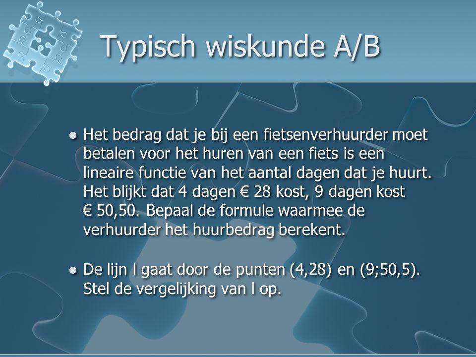 Typisch wiskunde A/B Het bedrag dat je bij een fietsenverhuurder moet betalen voor het huren van een fiets is een lineaire functie van het aantal dagen dat je huurt.