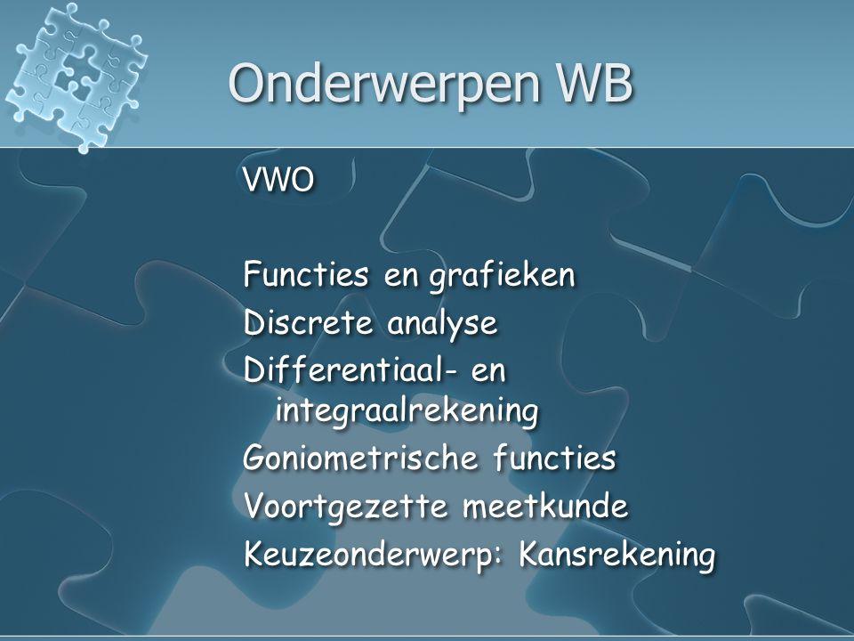 Onderwerpen WB VWO Functies en grafieken Discrete analyse Differentiaal- en integraalrekening Goniometrische functies Voortgezette meetkunde Keuzeonderwerp: Kansrekening