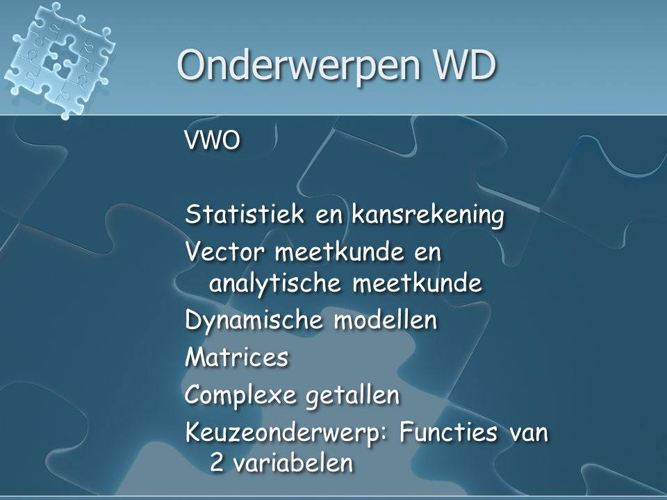 Lesuren per leerjaar VWO4e5e6e WC333 WA433 WB344 WD233