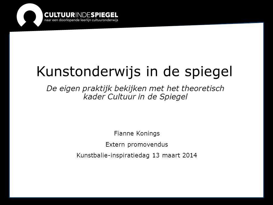 Kunstonderwijs in de spiegel De eigen praktijk bekijken met het theoretisch kader Cultuur in de Spiegel Fianne Konings Extern promovendus Kunstbalie-i