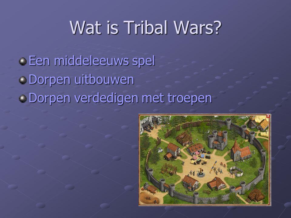 Wat is Tribal Wars? Een middeleeuws spel Dorpen uitbouwen Dorpen verdedigen met troepen
